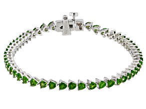 Chrome Diopside Rhodium Over Sterling Silver Tennis Bracelet 5.25ctw