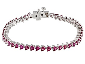 Raspberry Color Rhodolite Rhodium Over Sterling Silver Tennis Bracelet 5.75ctw