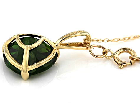 Chrome Diopside 10K Yellow Gold Pendant With Chain 2.60ctw