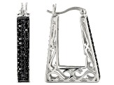 Black Spinel Rhodium Over Sterling Silver Earrings2.46ctw