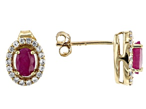 Red Burma Ruby 10k Yellow Gold Stud Earrings 1.58ctw
