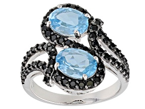 Swiss Blue Topaz Rhodium Over Sterling Silver Ring 3.05ctw