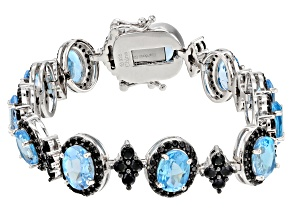 Swiss Blue Topaz Rhodium Over Sterling Silver Bracelet 17.15ctw