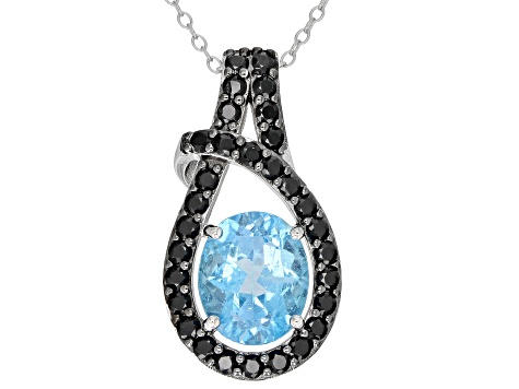 Swiss Blue Topaz Rhodium Over Silver Pendant With Chain 3.85