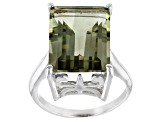 Prasiolite Sterling Silver Solitaire Ring 8.75ctw