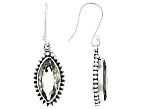 Green Prasiolite Sterling Silver Dangle Earrings 7ctw