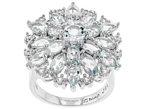 Aquamarine and  White Zircon Rhodium Over Sterling Silver Ring 5.89ctw