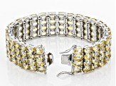 Citrine Rhodium Over Sterling Silver Multi-Row Bracelet 44.00ctw