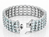 Sky Blue Topaz Rhodium Over Sterling Silver Multi-Row  Bracelet 72.80ctw