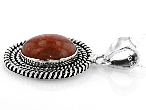 Orange Sunstone Sterling Silver Pendant With Chain