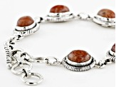 Orange Sunstone Sterling Silver Station Bracelet