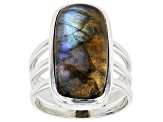 Gray Labradorite Sterling Silver Solitaire Ring