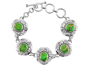 Green Turquoise Sterling Silver Station Bracelet
