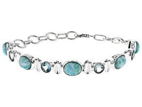 Blue Larimar Sterling Silver Station Bracelet 14.5ctw