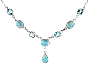 Blue Larimar Sterling Silver Necklace 24.00ctw