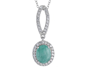 Emerald Rhodium Over Sterling Silver Pendant With Chain 2.80ctw