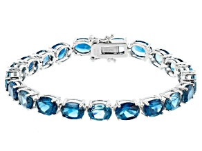 London Blue Topaz Rhodium Over Silver Tennis Bracelet 27.00ctw