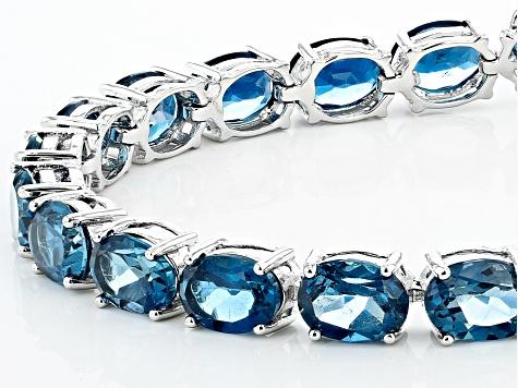 Details about  /Natural Sky Blue Topaz Square Gemstone Bracelet Sterling Silver Tennis Bracelet