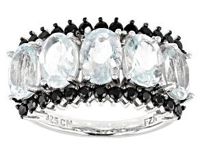 Blue Aquamarine Rhodium Over Sterling Silver 5-Stone Ring 3.85ctw