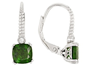Green Chrome Diopside Rhodium Over Silver Earrings 2.03ctw