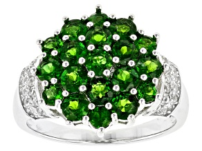 Green Chrome Diopside Rhodium Over Silver Ring 2.34 ctw