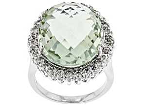 Green Prasiolite Rhodium Over Silver Ring 14.50ctw