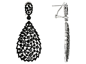 Black Spinel Rhodium Over Silver Earrings 10.38ctw