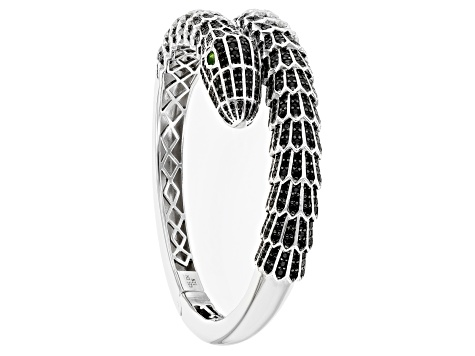 Black Spinel Rhodium Over Silver Snake Bracelet 10.35ctw