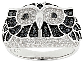 White Zircon Rhodium Over Silver Owl Ring 1.44ctw