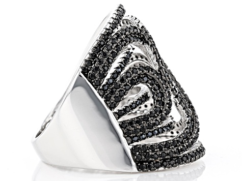Black Spinel Rhodium Over Silver Ring 1.85ctw