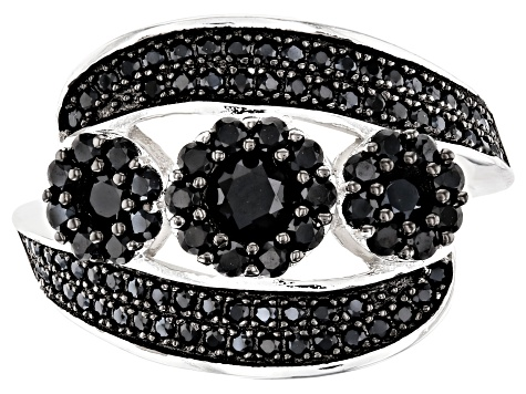 Black Spinel Rhodium Over Silver Ring 1.38ctw