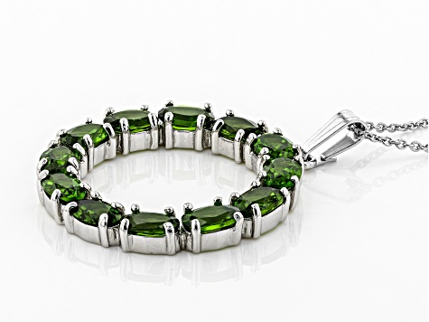 Green Chrome Diopside Rhodium Over Silver Pendant With Chain 5.50ctw