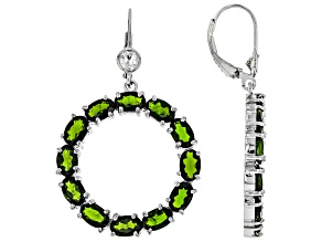 Green Chrome Diopside Rhodium Over Silver Earrings 11.60ctw