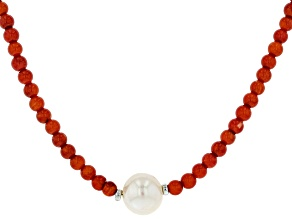Red Coral Bead Rhodium Over Silver Necklace