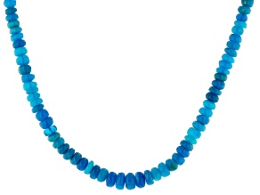 Paraiba Blue Color Opal Strand Silver Necklace 27.00ctw