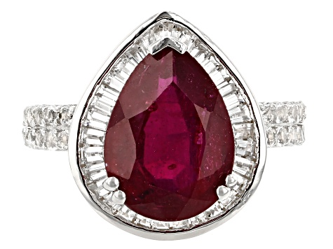 Red Mahaleo® Ruby Rhodium Over Silver Ring 6.25ctw