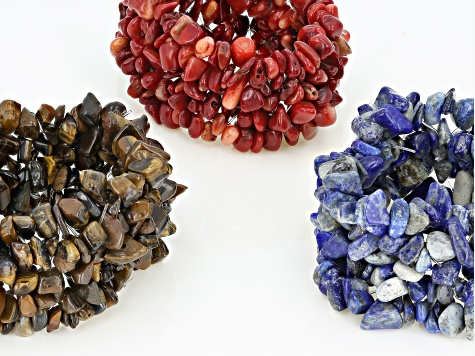 Mixed Shape Tigers Eye, Red Coral, Lapis Multi-Row Chip Stretch Bracelets