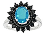 Blue Ethiopian Opal Rhodium Over Silver Ring 2.00ctw