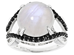 White Moonstone Rhodium Over Silver Ring .65ctw