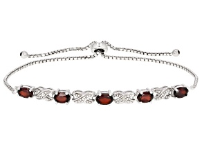 Red Garnet Sterling Silver Sliding Adjustable Bracelet 3.00ctw