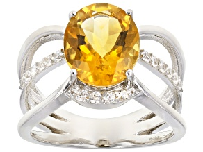 Yellow Citrine Rhodium Over Silver Ring 3.20ctw