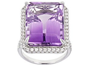 Orchid Amethyst Rhodium Over Silver Ring 22.30ctw