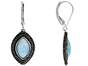 Blue Larimar Rhodium Over Silver Dangle Earrings 1.30ctw