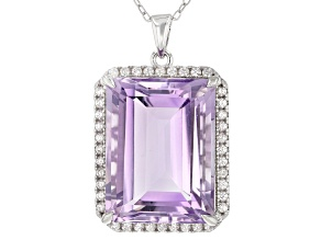 Amethyst Rhodium Over Sterling Silver Pendant With Chain 23.00ctw