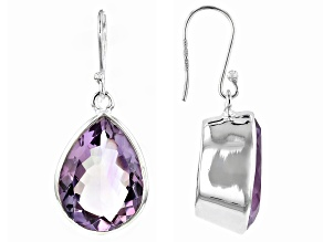 Purple Brazilian Amethyst Silver Earrings 22.00ctw