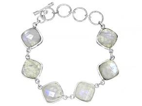 White Moonstone Sterling Silver Bracelet