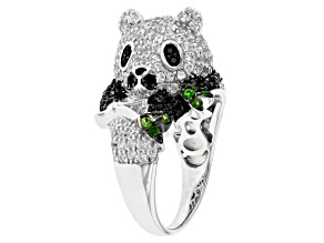 White Zircon Rhodium Over Silver Panda Ring 3.18ctw