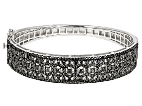 Black Spinel Rhodium Over Sterling Silver  Hinged Bangle Bracelet 6.97ctw