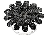 Black Spinel Rhodium Over Sterling Silver Flower Ring 4.22ctw