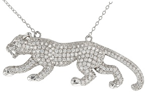 White Zircon Rhodium Over Silver Jaguar Necklace 4.50ctw